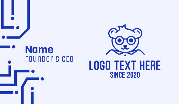 line - Cute Smart Bear Business card horizontal design
