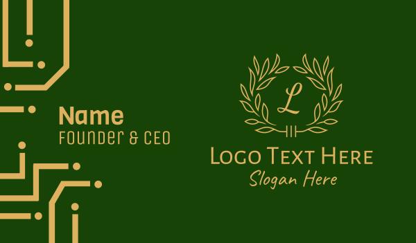 herbal - Fancy Gold Leaf Lettermark  Business card horizontal design