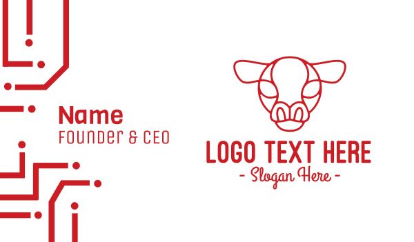 steakhouse - Red Cow Head Outline Business card horizontal design