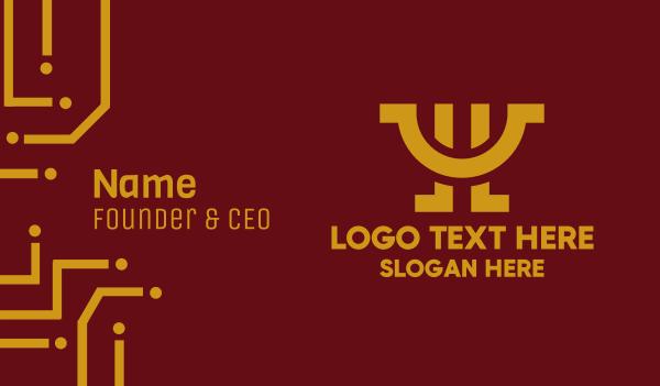 hospitality - Fancy Golden Letter Y Business card horizontal design