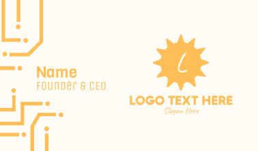 Yellow Tropical Sun Lettermark Business Card