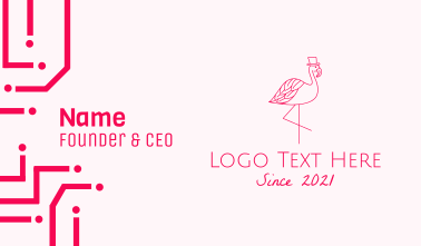 Pink Flamingo Hat Business Card