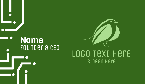 ecology - Leaf Bird Business card horizontal design