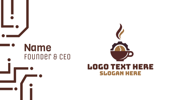 manufacturing - Coffee Cup Cog Business card horizontal design