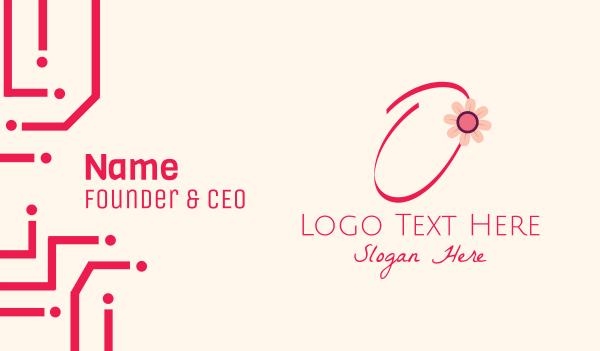 bloom - Pink Flower Letter O Business card horizontal design