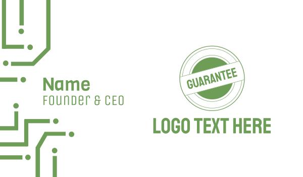 green circle - Guarantee Business card horizontal design