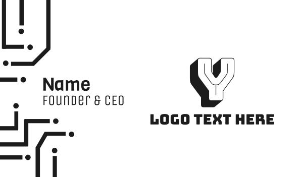 letter y - 3D Retro Letter Y Business card horizontal design