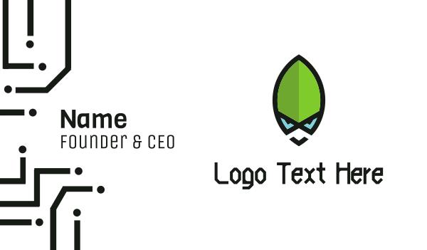 bot - Green Alien Business card horizontal design