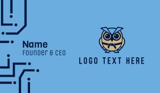 Karate Owl Mascot Business Card