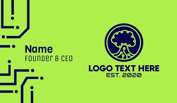 research - Green Tech Tree  Business card horizontal design