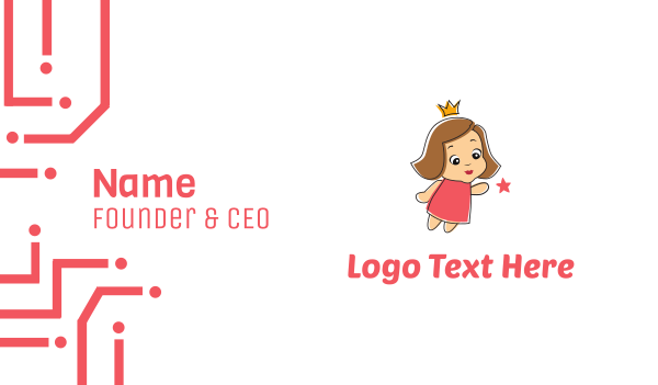 pink crown - Little Princess Business card horizontal design