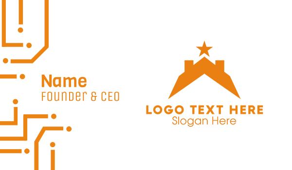 orange star - Star & Roof Business card horizontal design
