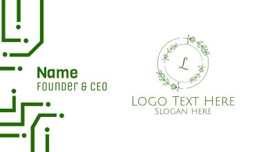 Green Organic Wreath Lettermark Business Card