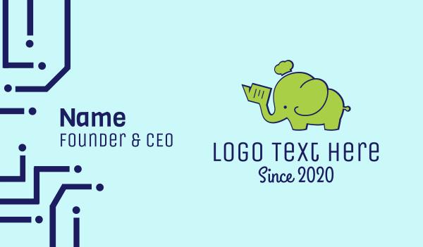 green hat - Green Elephant Chef Business card horizontal design