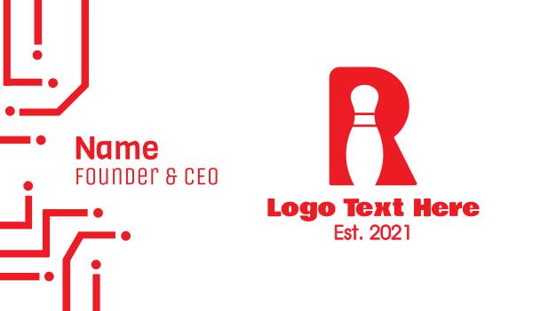strike - Red R Bowling Pin Business card horizontal design