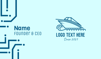 Blue Speedboat Boat Business Card