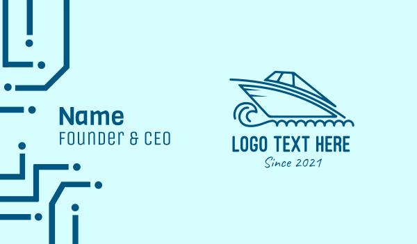 cruise ship - Blue Speedboat Boat Business card horizontal design