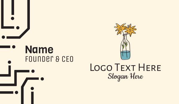 sunflower - Flower Vase Drawing  Business card horizontal design