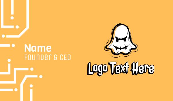 phantom - Ghost Mascot Gamer Business card horizontal design