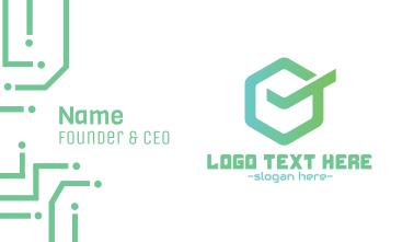 Green Hexagon Check Business Card