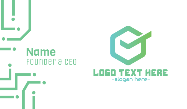 quality - Green Hexagon Check Business card horizontal design