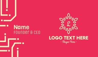 Ornamental Leaves Lettermark Business Card