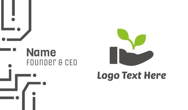 hand sanitizer - Hand Eco Plant Grow Business card horizontal design