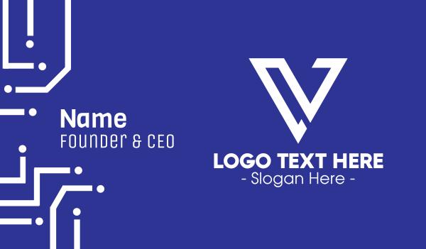 educational - Professional Letter V Business card horizontal design