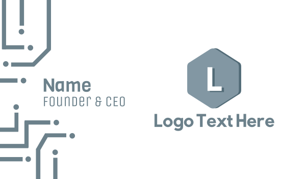 cube - Modern Blue Hexagon Lettermark Business card horizontal design