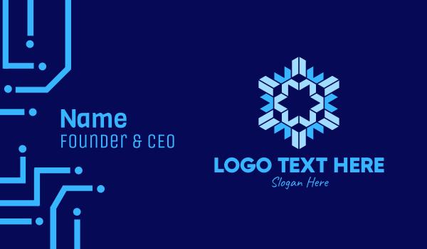 yuletide - Geometric Papercut Snowflake Business card horizontal design