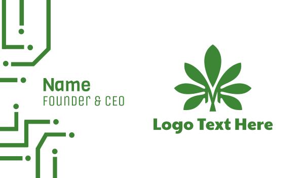 hemp - Green M Marijuana Business card horizontal design