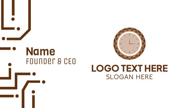 alarm - Brown Diamond Clock Business card horizontal design