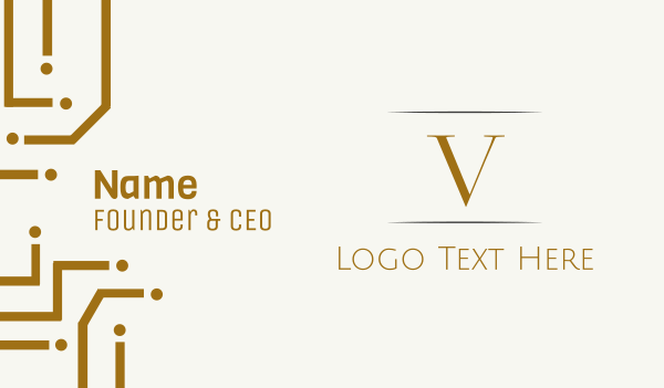 vip - Gold Letter V Business card horizontal design