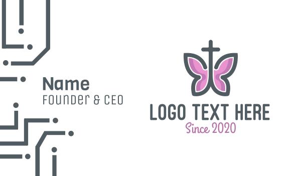 catholic - Butterfly Cross Business card horizontal design