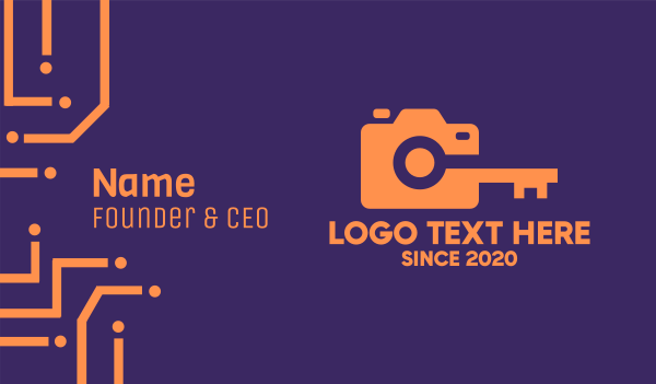 camera shop - Orange Camera Lock Business card horizontal design