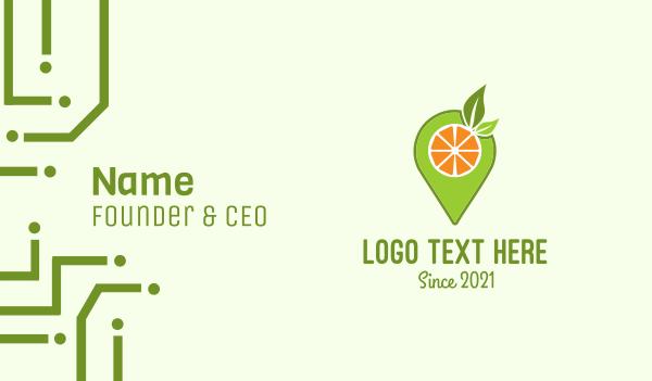 place - Fruit Juice Pin Locator Business card horizontal design