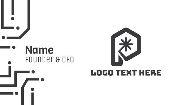 asterisk - Modern Hexagon P Business card horizontal design