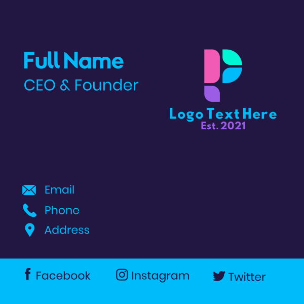 Multicolor Digital Letter P Business Card