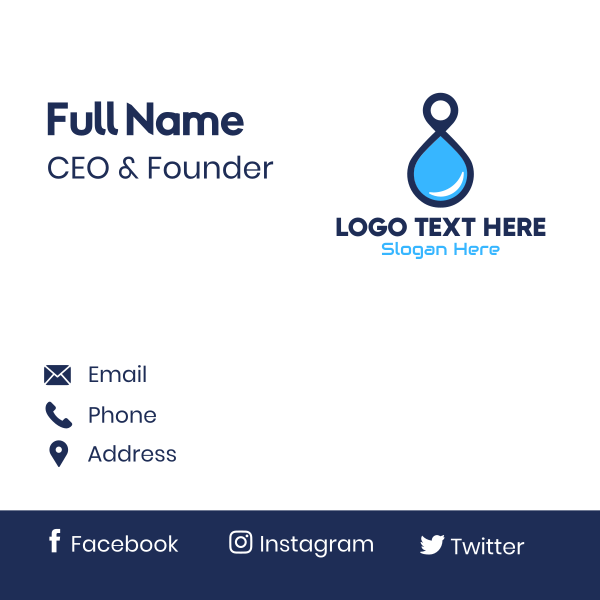 Water Locations Number 8 Business Card