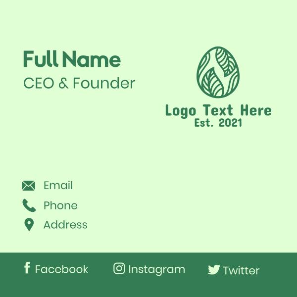 Green Herbal Egg Business Card