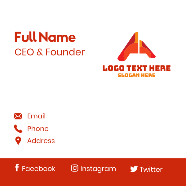 Red Orange Letter A Business Card