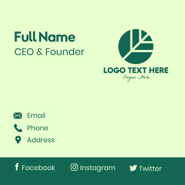 Round Green Environmental Leaf Business Card