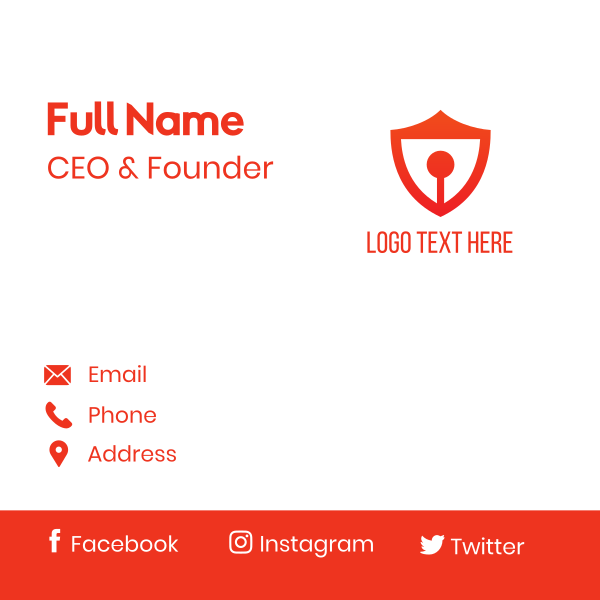 Red Keyhole Shield Business Card