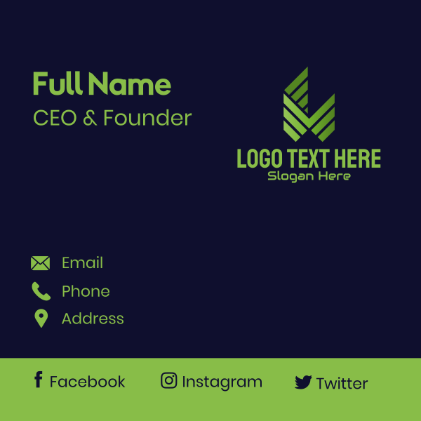 Green Letter M  Tech Business Card