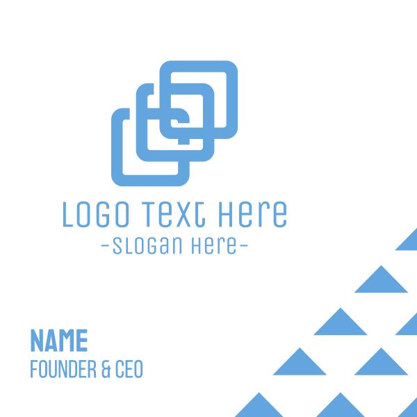 Business Company Blue Squares Business Card