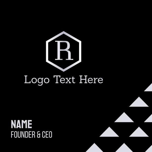Letter R Hexagon Business Card