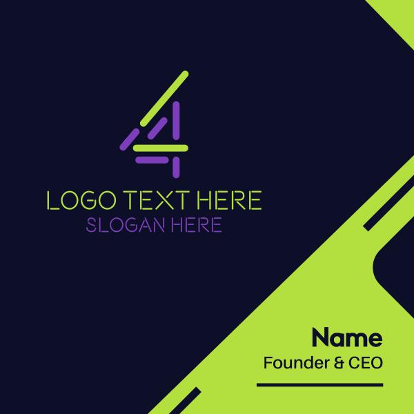 Digital Number 4 Business Card