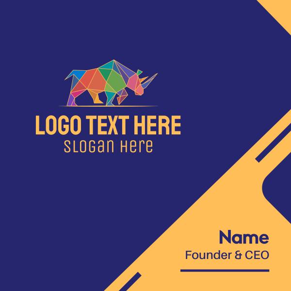 Colorful Geometric Rhino Business Card
