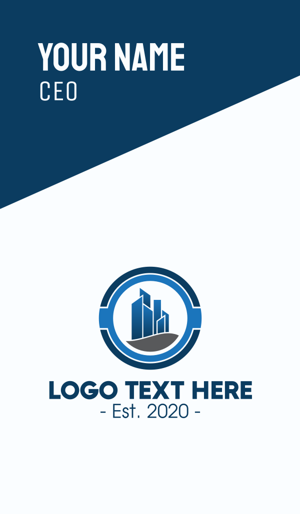 Blue Corporate Office Building Business Card