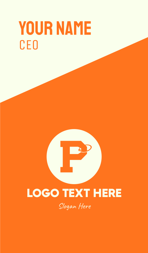 Orange Price Tag Letter P Business Card